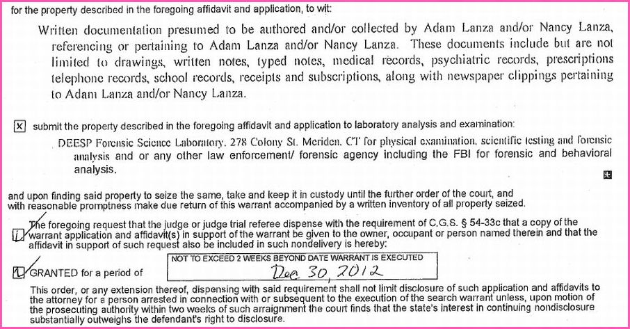 Written documentation presumed to be authored and/or collected by Adam Lanza and/or Nancy Lanza, referencing, or pertaining to Adam Lanza and/or Nancy Lanza, These documents include but are not limited to drawings, written notes, typed notes, medical records, psychiatric records, prescriptions, telephone records, school records, receipts and subscriptions, along with newspaper clippings pertaining to Adam Lanza and/or Nancy Lanza.